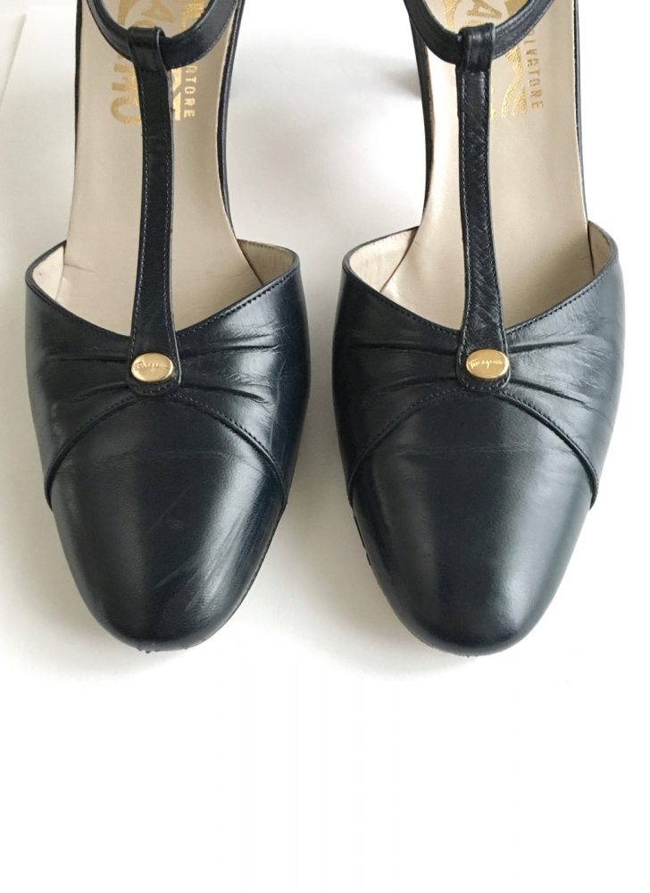 1980s dark blue t-strap Ferragamo heels