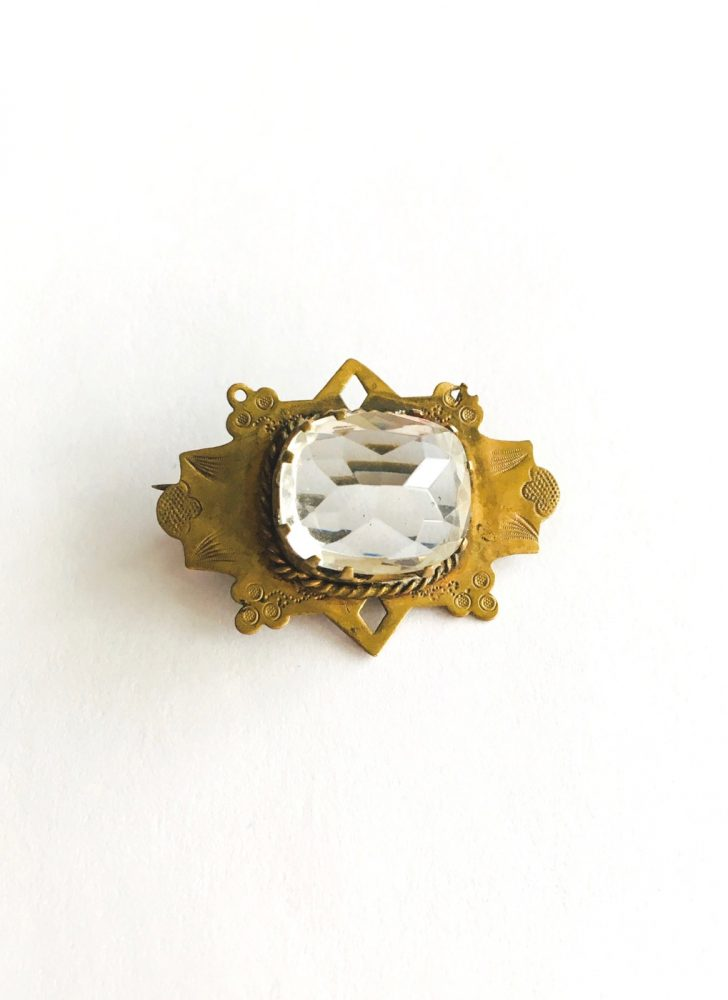 Edwardian Czech faceted glass pin