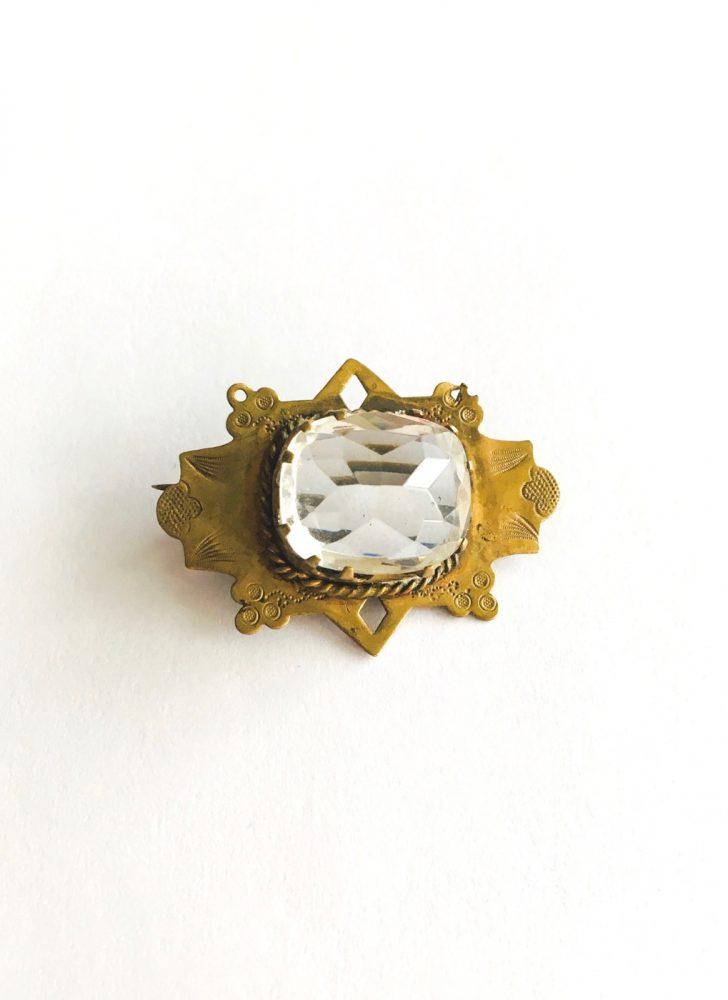 Edwardian Czech faceted glass pin