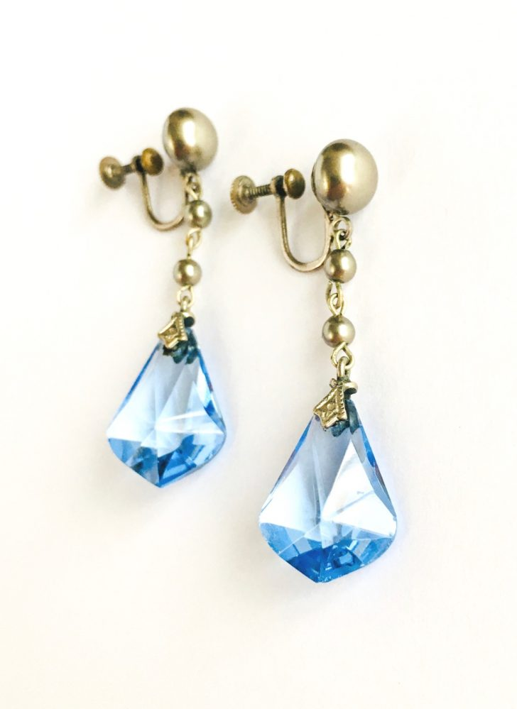 1920s 30s antique faceted blue glass drop earrings