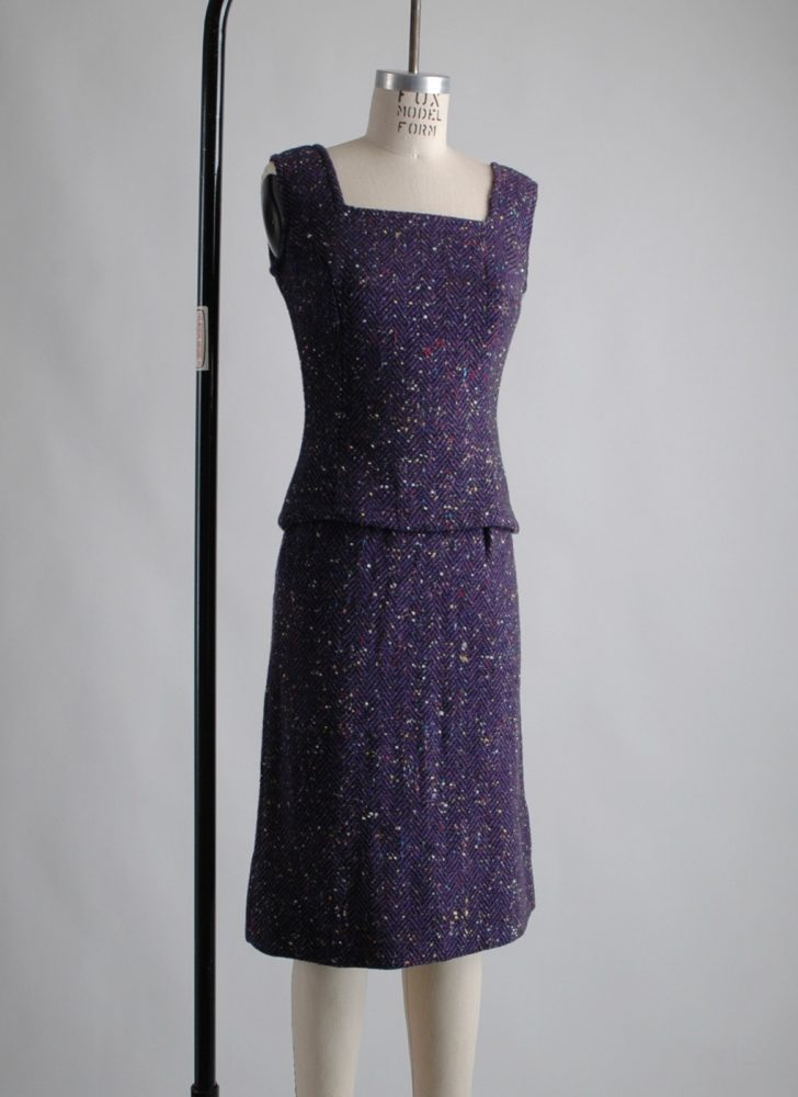 1960s speckled purple wool two piece dress