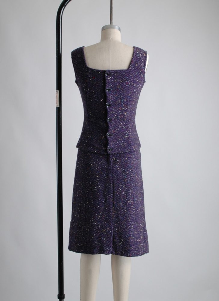 1960s speckled purple wool two piece dress
