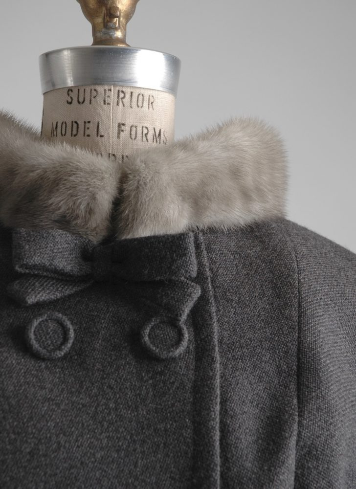 1950s gray wool + mink fur collar suit