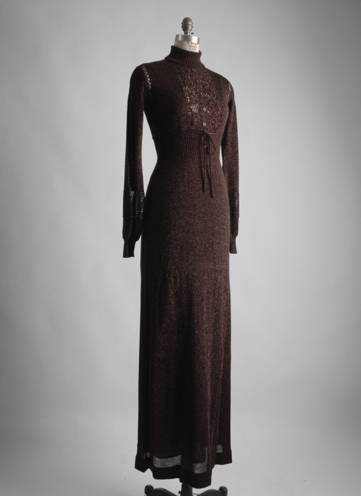 1970s Wenjilli dark brown metallic knit maxi dress