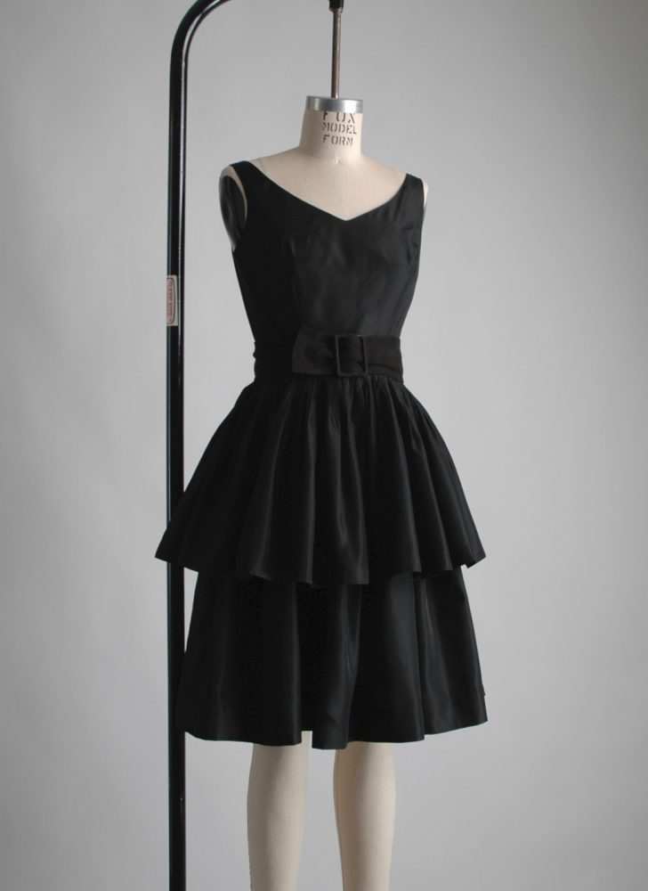 black early 1960s tiered ruffle cocktail dress