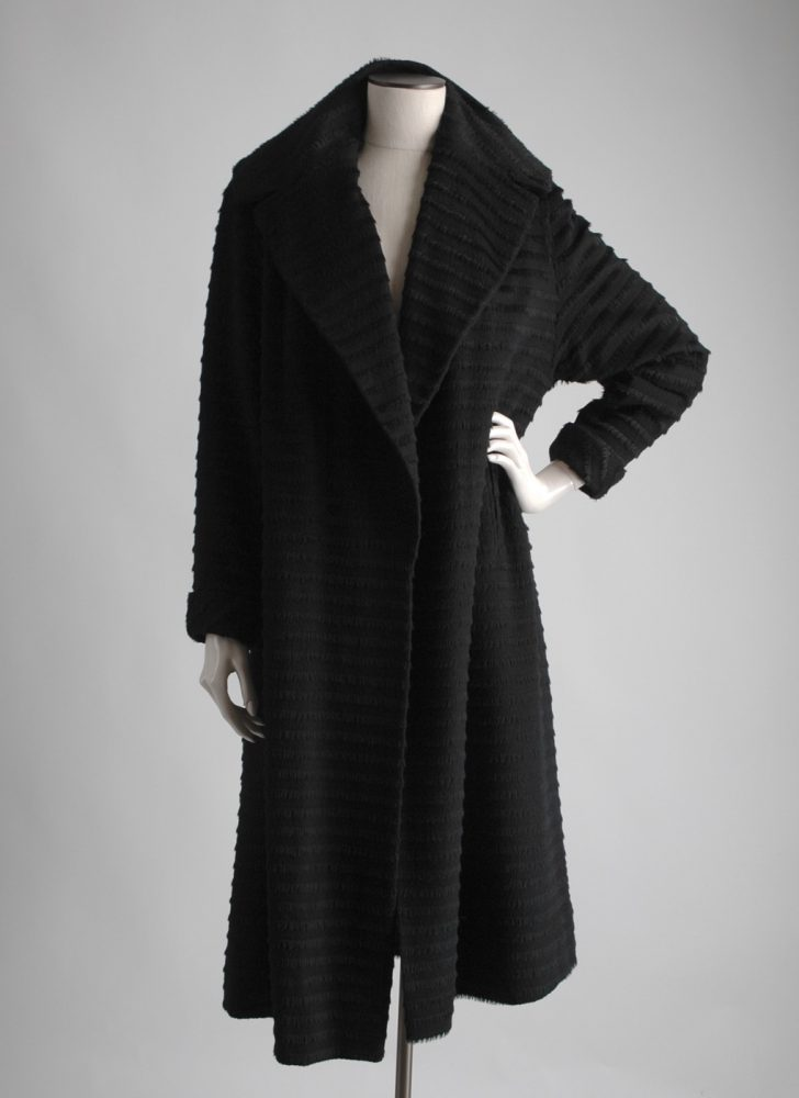 1950s Forstmann striped fur fringe black wool coat