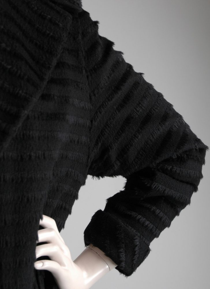 1950s Forstmann striped fur fringe black wool coat