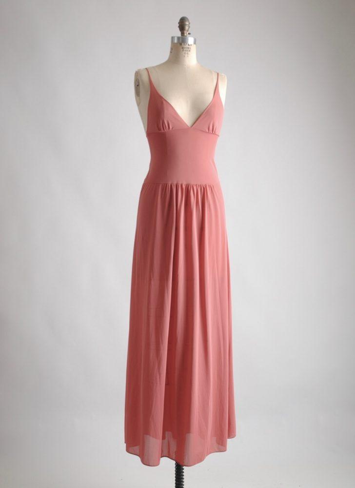 1970s John Kloss Cira muted pink nylon slip