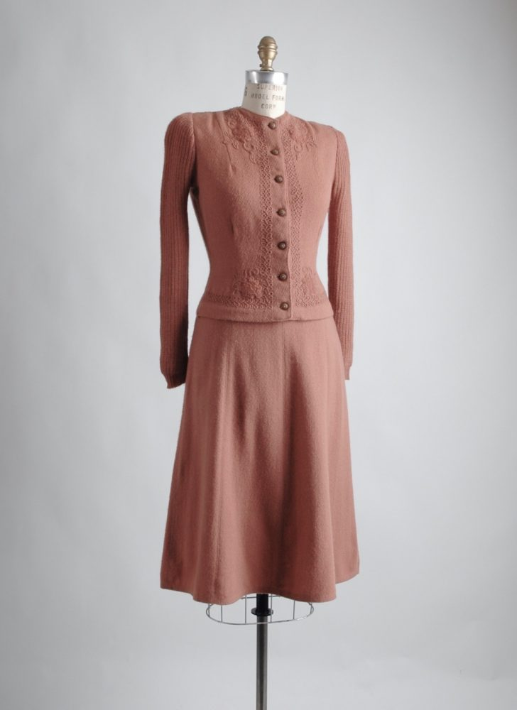 gorgeous 1930s mauve brown knit wool suit dress
