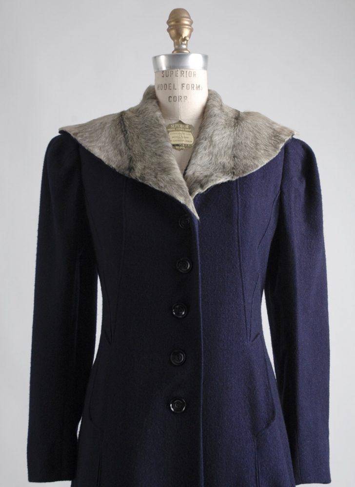 1930s dark blue eyelash wool coat with a pony fur collar
