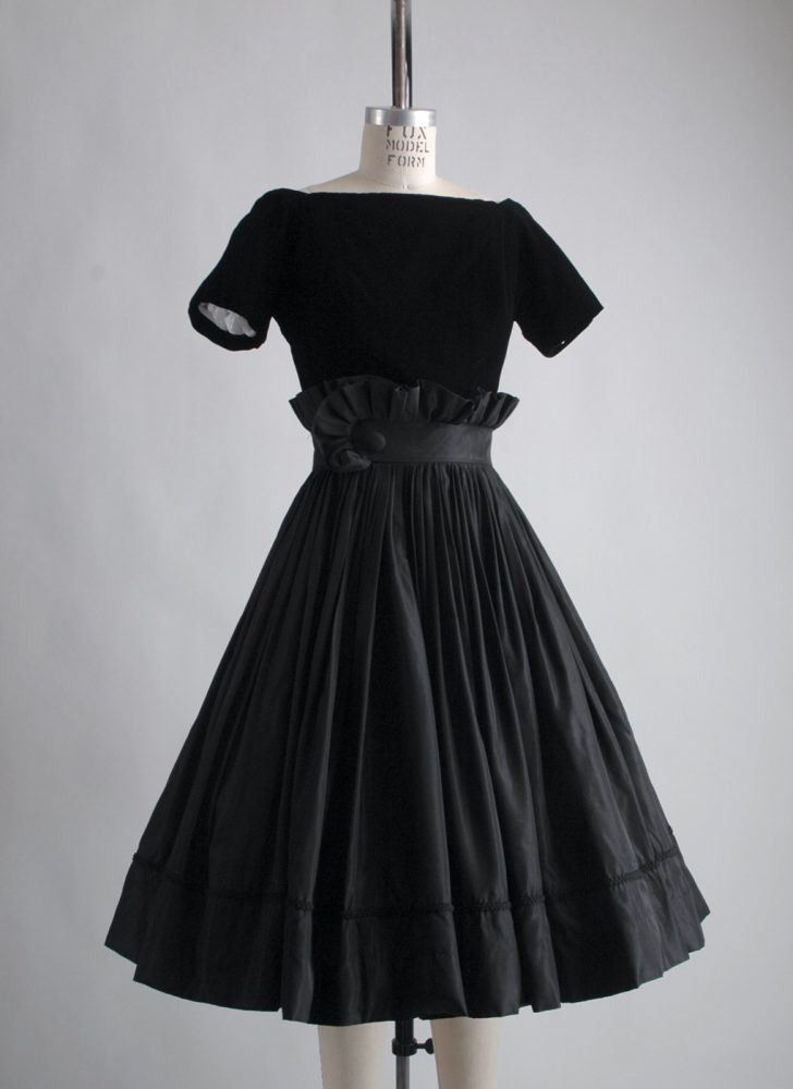 1950s Gigi Young black velvet + taffeta ruffle dress