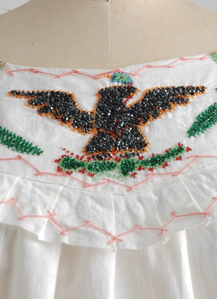 1920s cotton beaded eagle flowers peasant top
