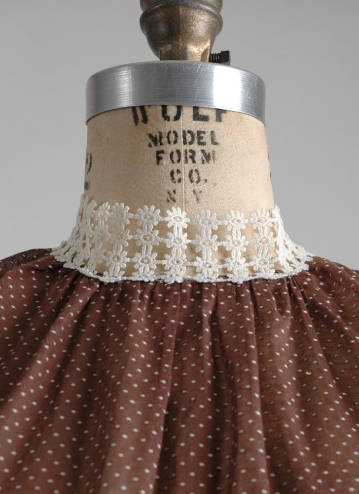 1950s sheer brown cotton + white dot dress