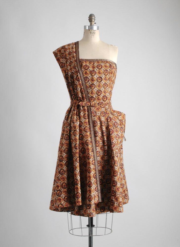 1940s Pompadour brown cotton sari dress (like Tina Leser)