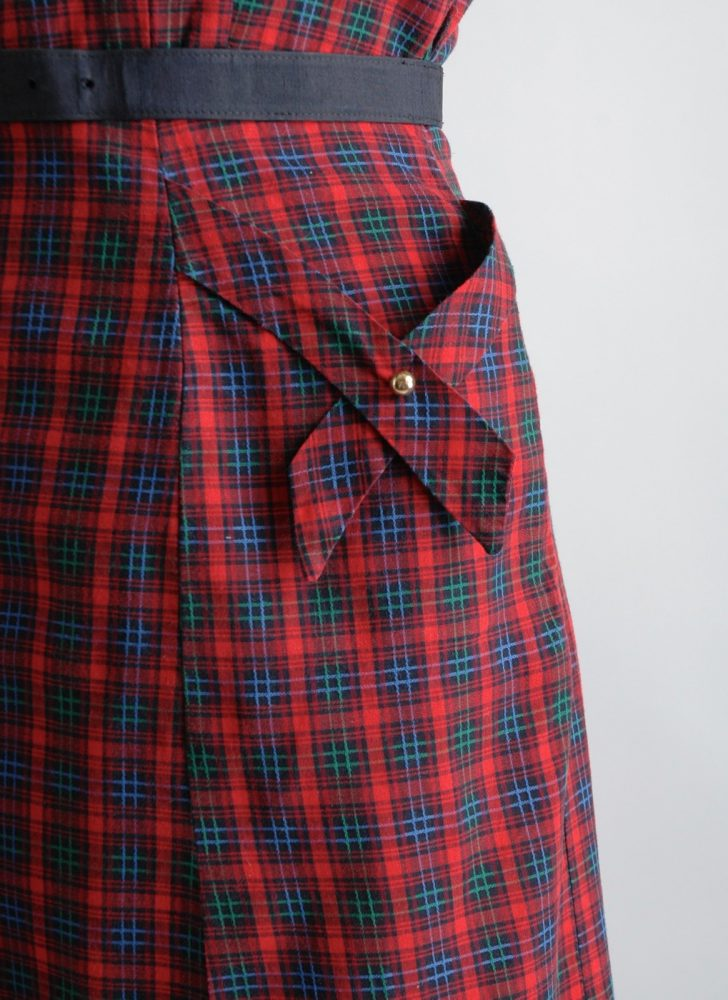 1950s red plaid dress with brass buttons