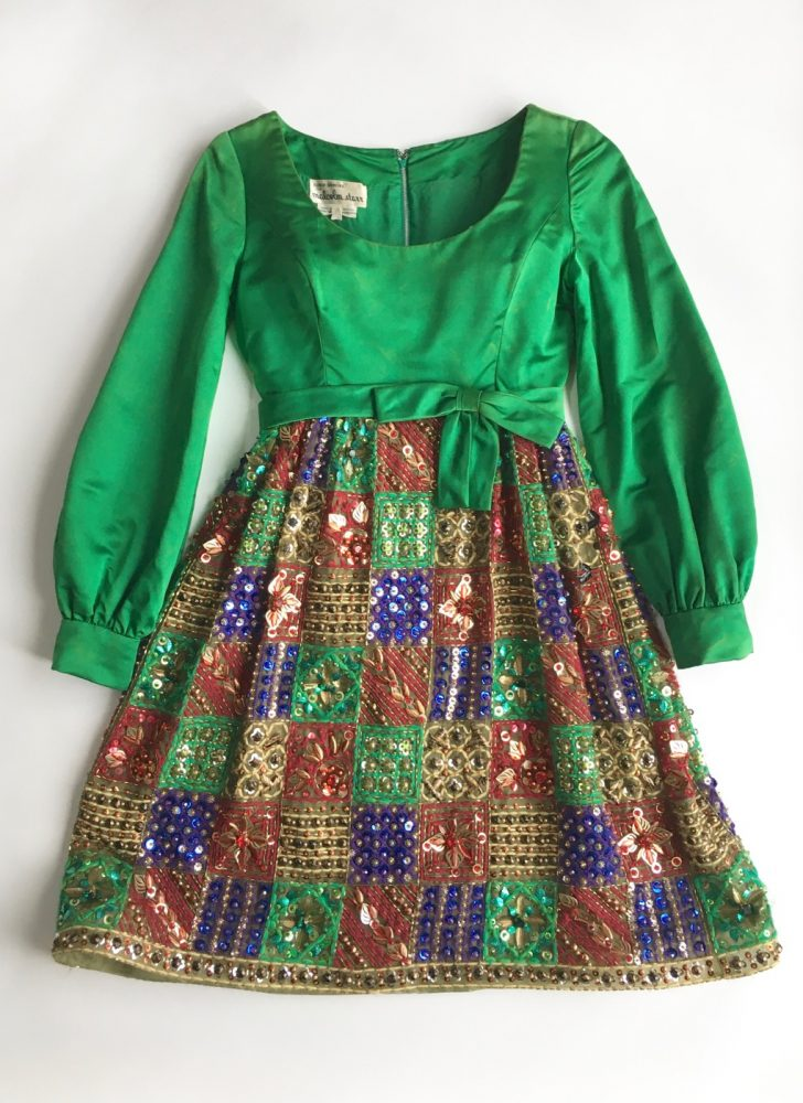 1960s Malcolm Starr green silk satin and organza beaded sequin dress (as-is)