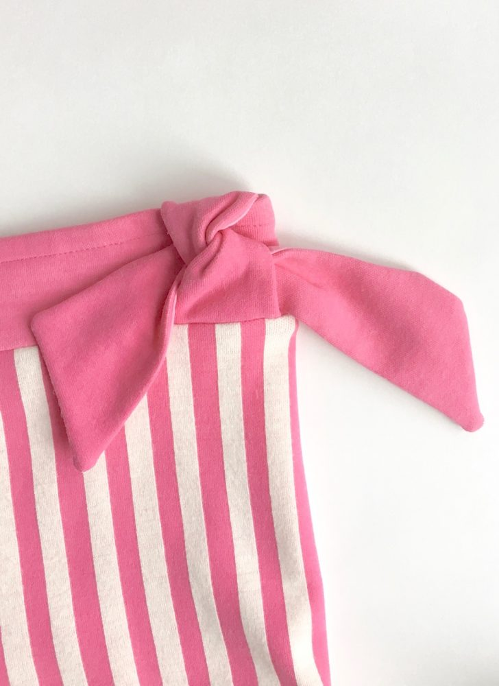 1960s pink + white stripe knit bikini bathing suit