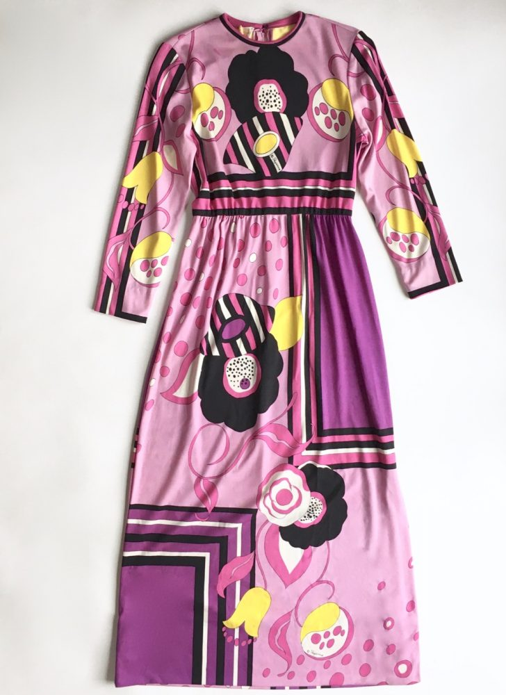 1960s 1970s Paganne pink abstract print maxi dress
