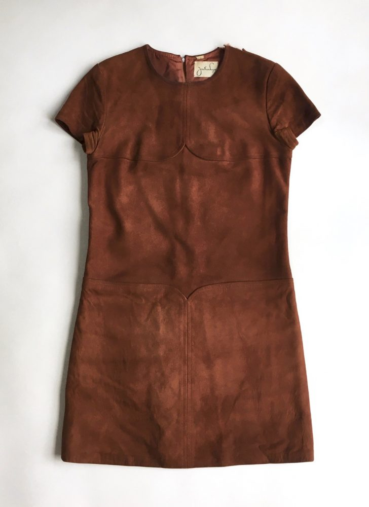 1960s Jonathan Logan brown suede mod mini dress (needs repair)