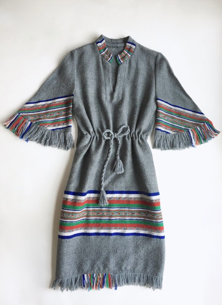 1970s gray hippie boho woven fringed dress
