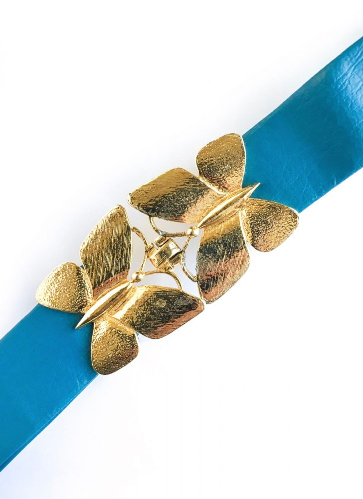 1970s Mimi di N gold butterfly buckle belt