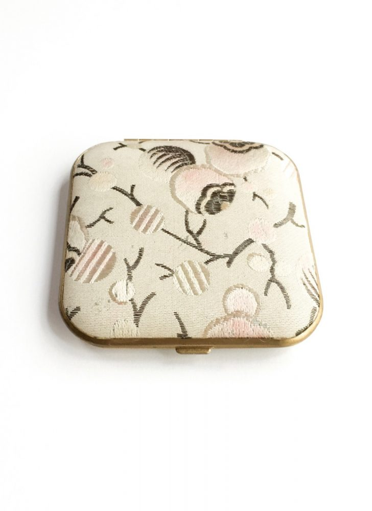 1920s 30s Art Deco fabric branches + buds Mondaine makeup compact