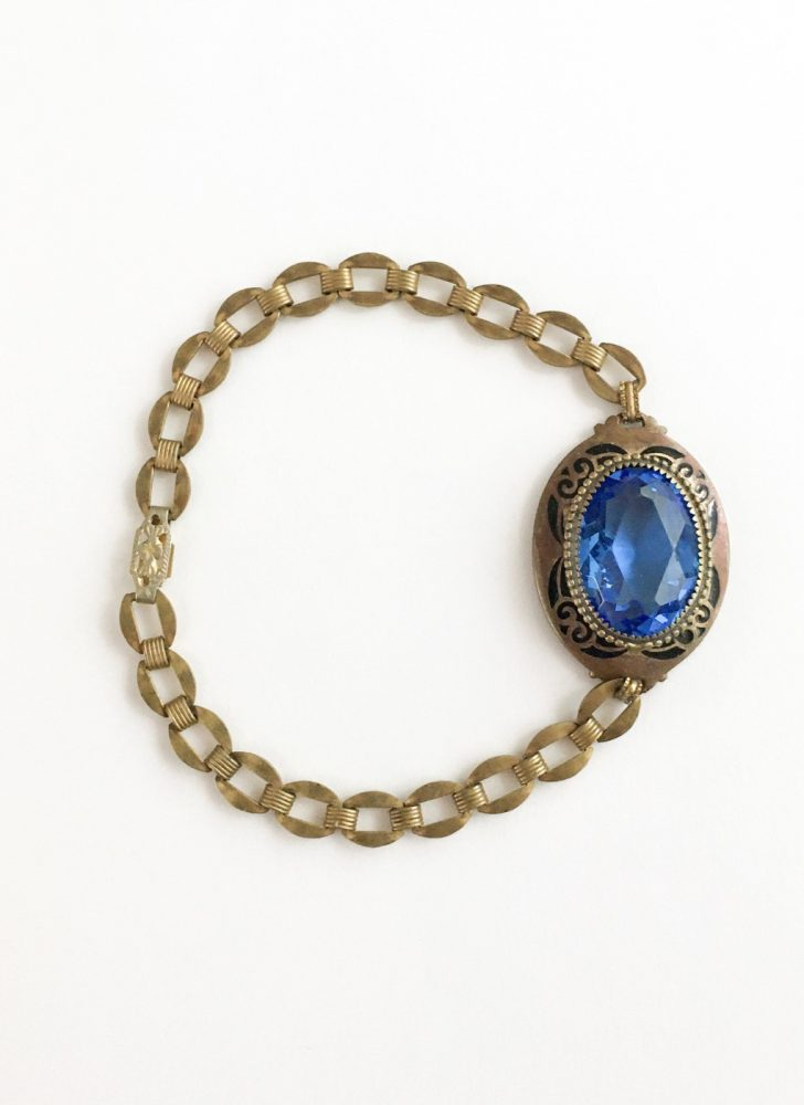 1920s 30s antique blue Czech crystal brass bracelet with etched enamel