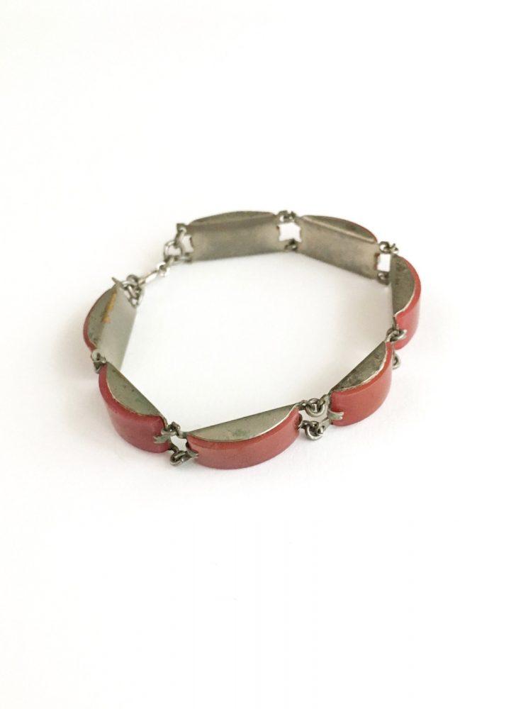1920s 30s curved carnelian linked silver metal bracelet