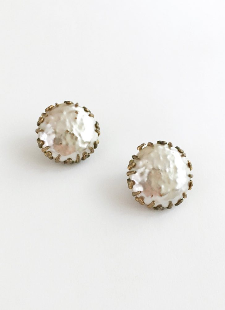 1940s 50s Miriam Haskell Baroque pearl clip earrings