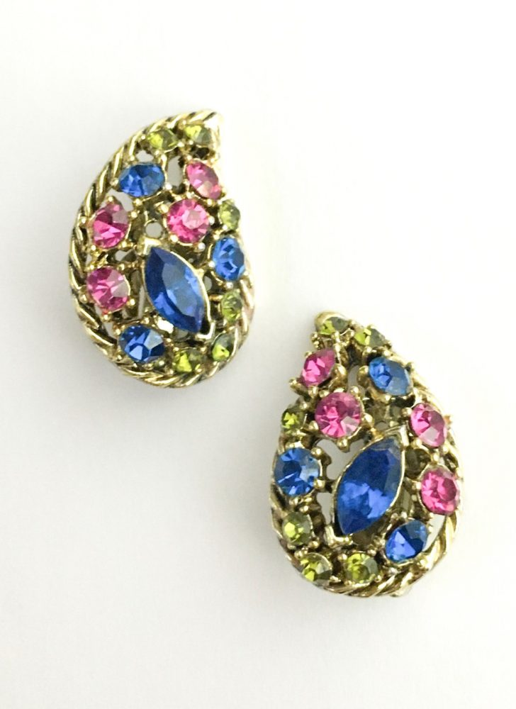 1950s 60s colorful rhinestone gold-tone earrings