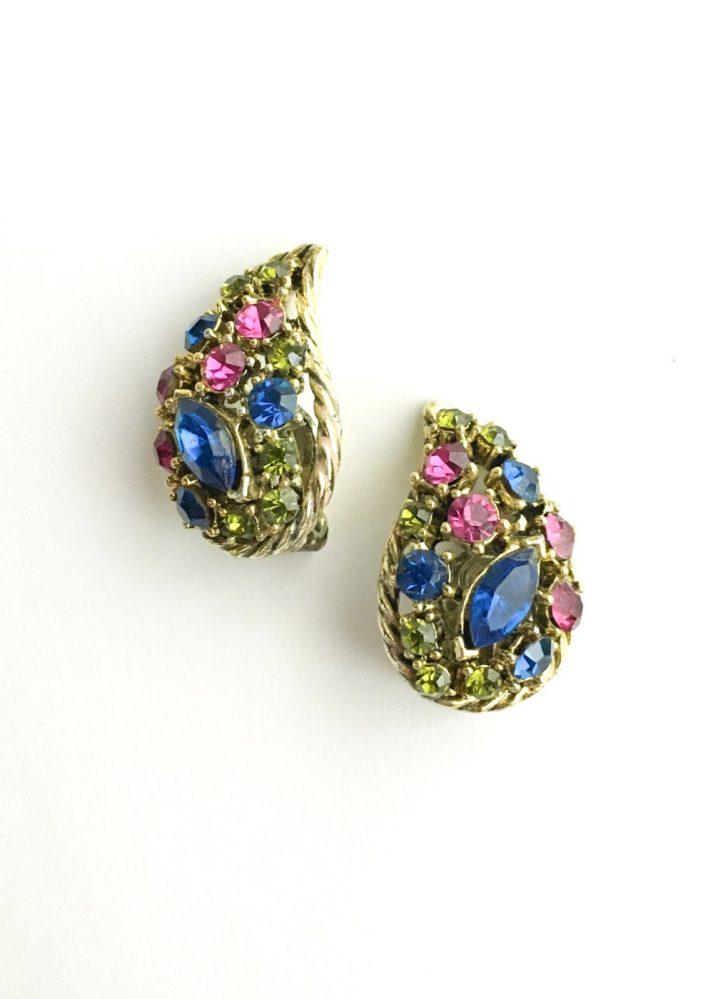 1950s 60s colorful rhinestone gold-tone earrings