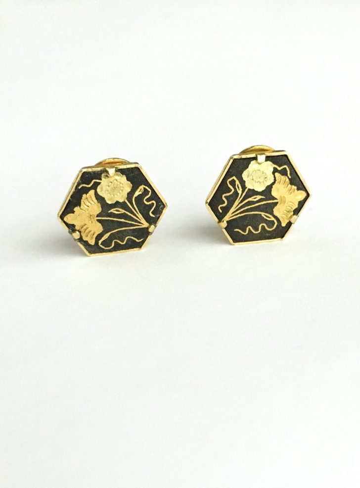 1950s vintage Damascene flower clip earrings