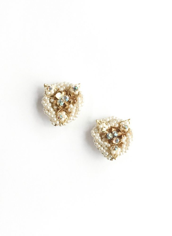 1950s wrapped rhinestones + pearls clip earrings