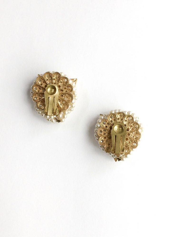 1950s wrapped rhinestones + pearls clip earrings