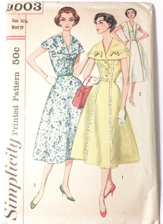 1957 Simplicity cape collar dress printed pattern 2003