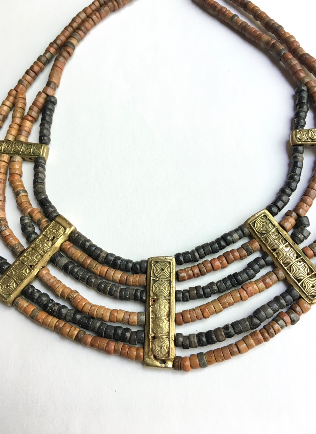 70s-african-beaded-necklace-bracelet-set-with-large-brass-beads