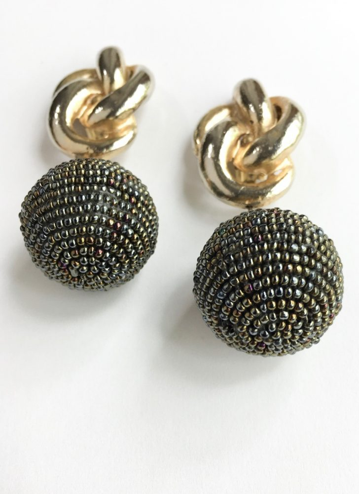 Huge 1980s beaded two-tone metal drop earrings