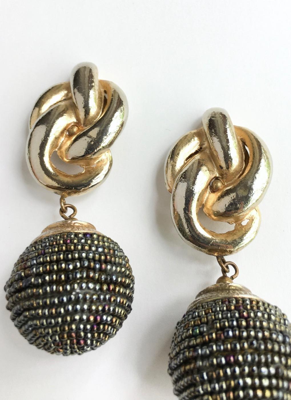 Huge-1980s-beaded-two-tone-metal-drop-earrings