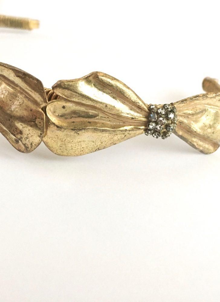RARE 1950s Miriam Haskell bow + rhinestone tiara headband
