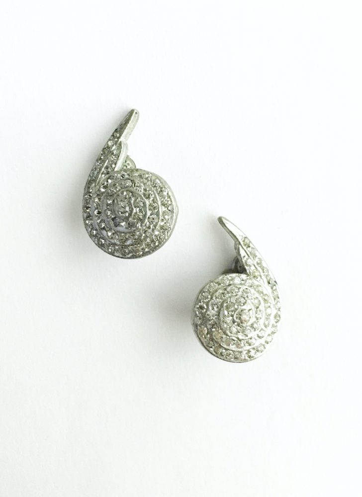 vintage 1920s 30s Deco spiral rhinestone silver tone clip earrings