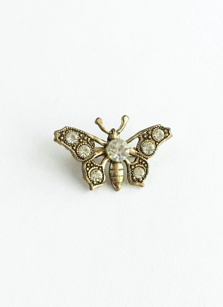 vintage 1920s 30s rhinestone gold-tone butterfly pin
