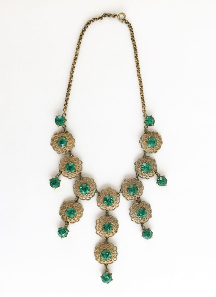 vintage 1930s green rhinestone + brass filigree drop bib necklace