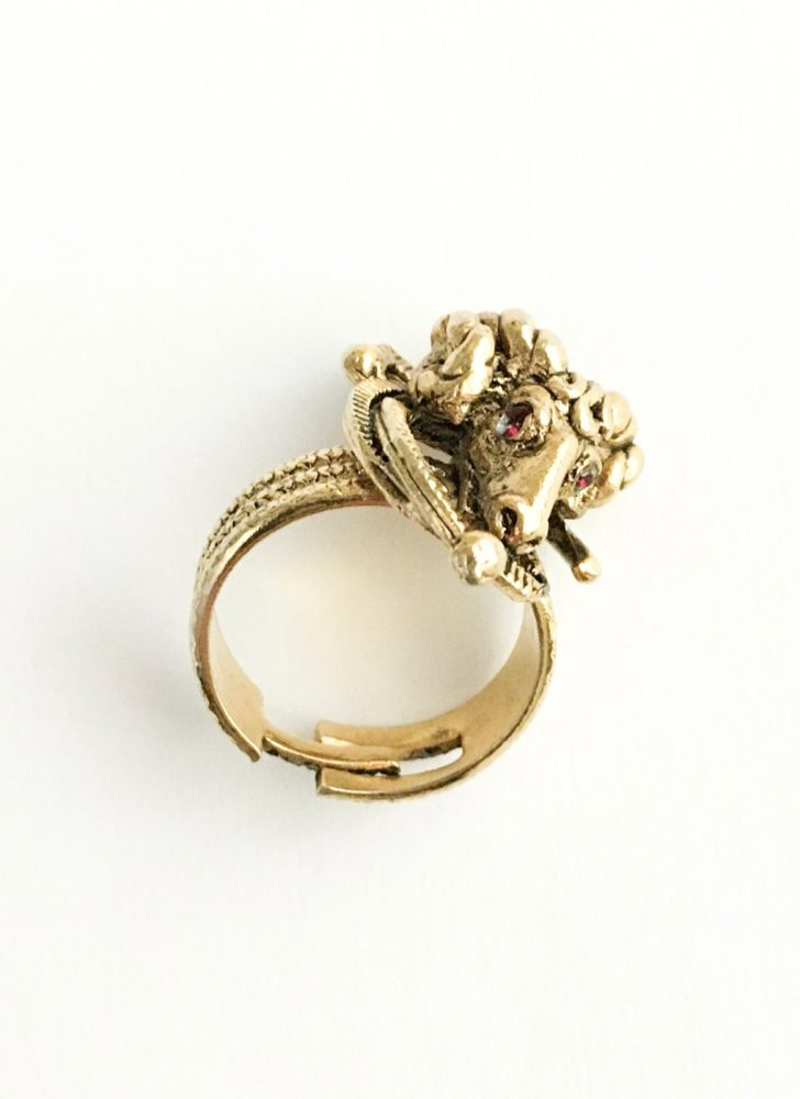 vintage 1950s ram's head adjustable gold ring