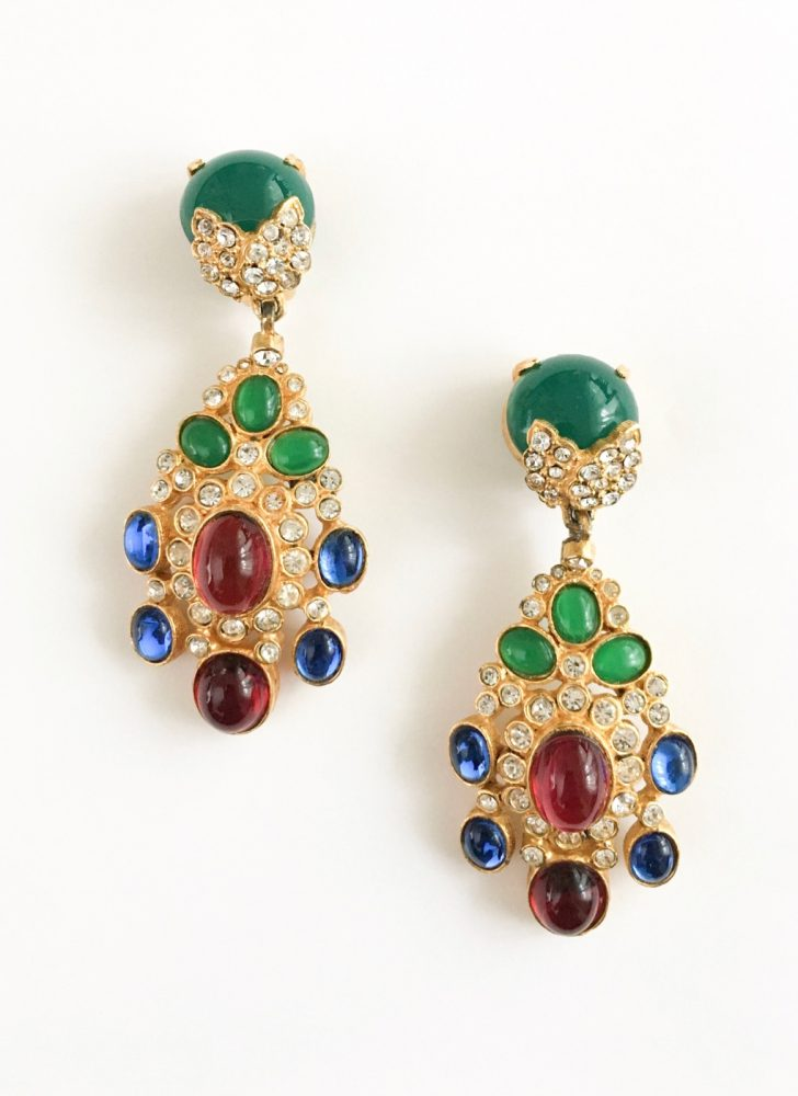 vintage Cadoro jeweled dangle earrings red green + blue