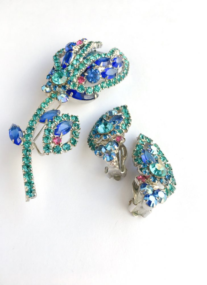 50s Juliana blue rhinestone flower brooch + earrings set