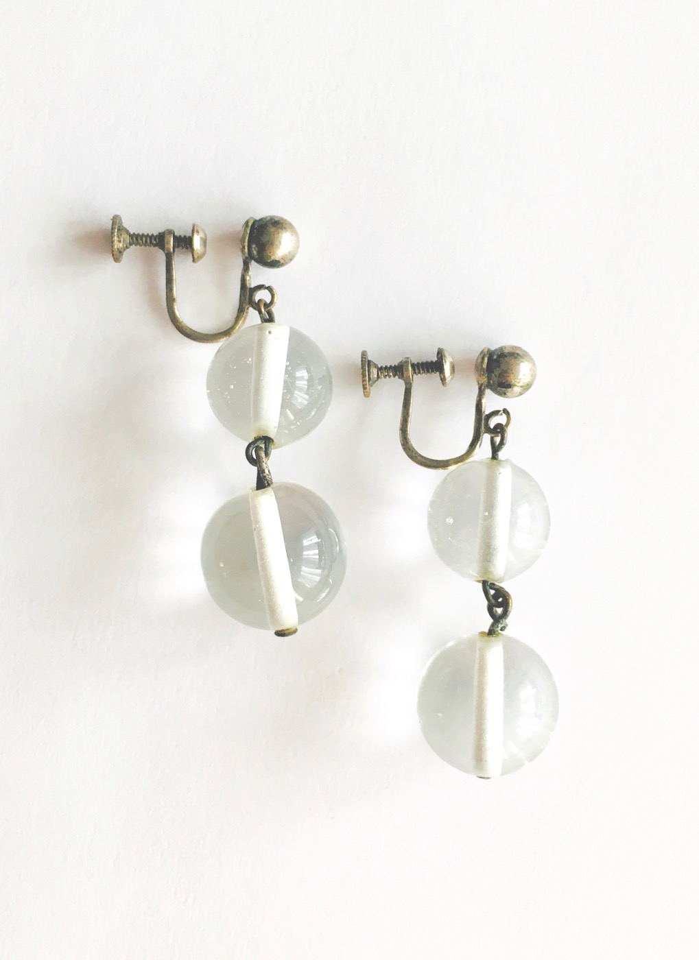 cute glass ball drop screwback earrings