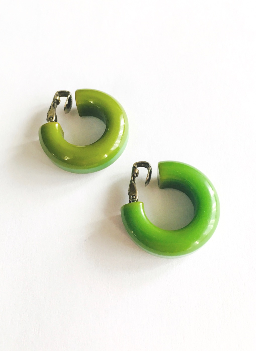 vintage green Bakelite hoop earrings