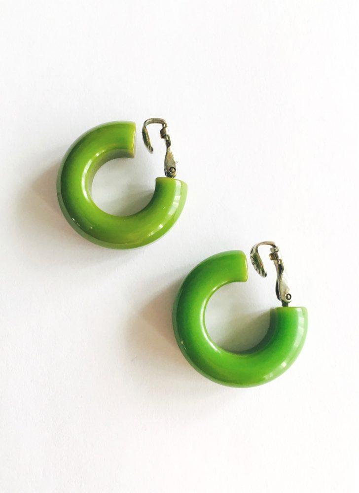 vintage green plastic hoop earrings