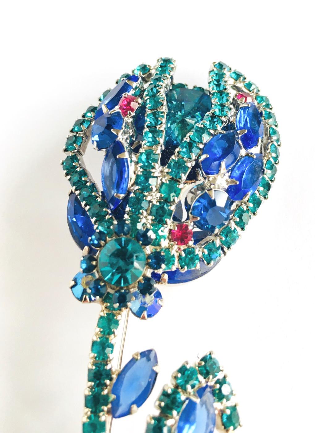 50s Juliana blue rhinestone flower brooch + earrings set