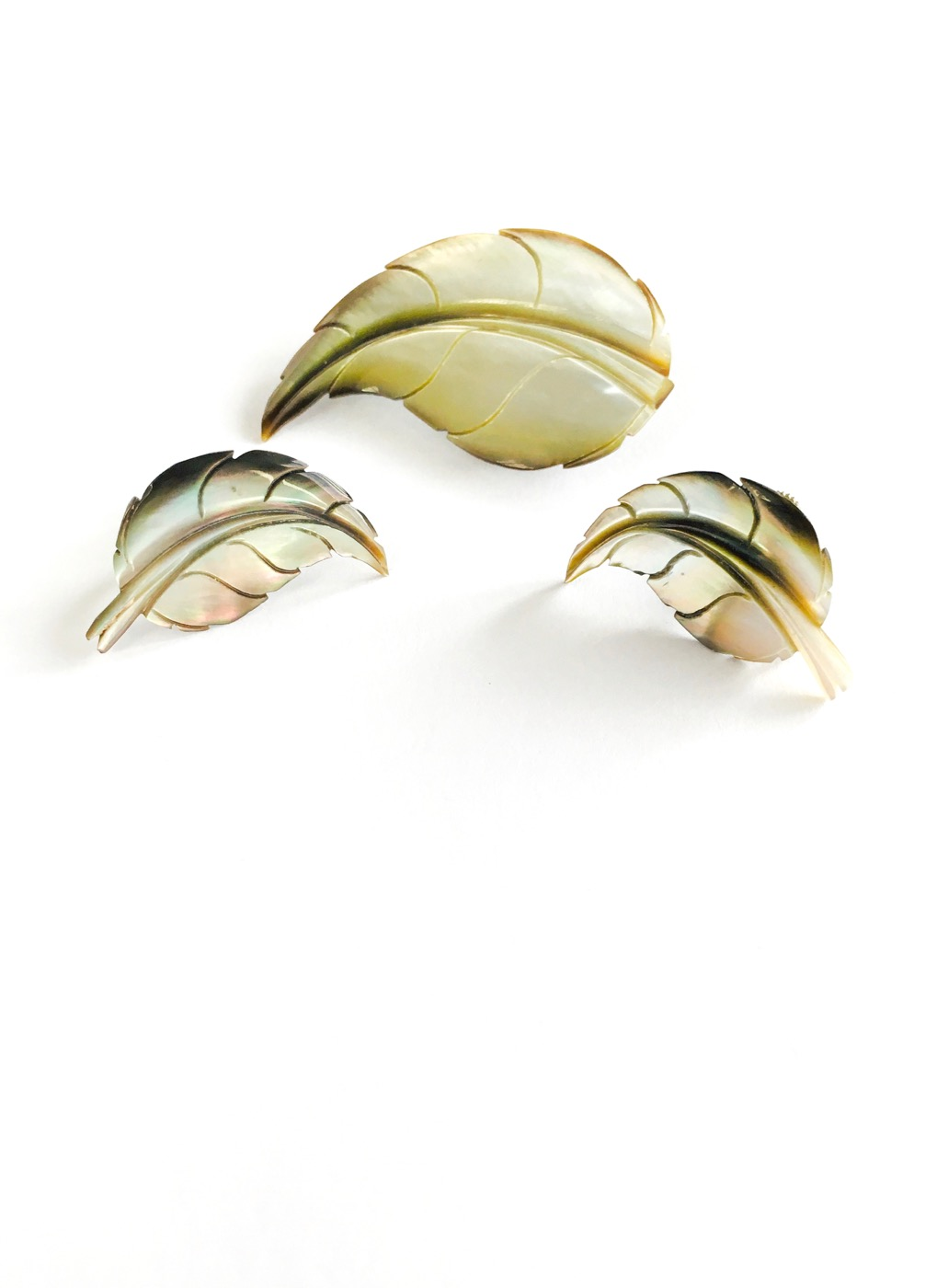 vintage carved shell feather pin + earrings set